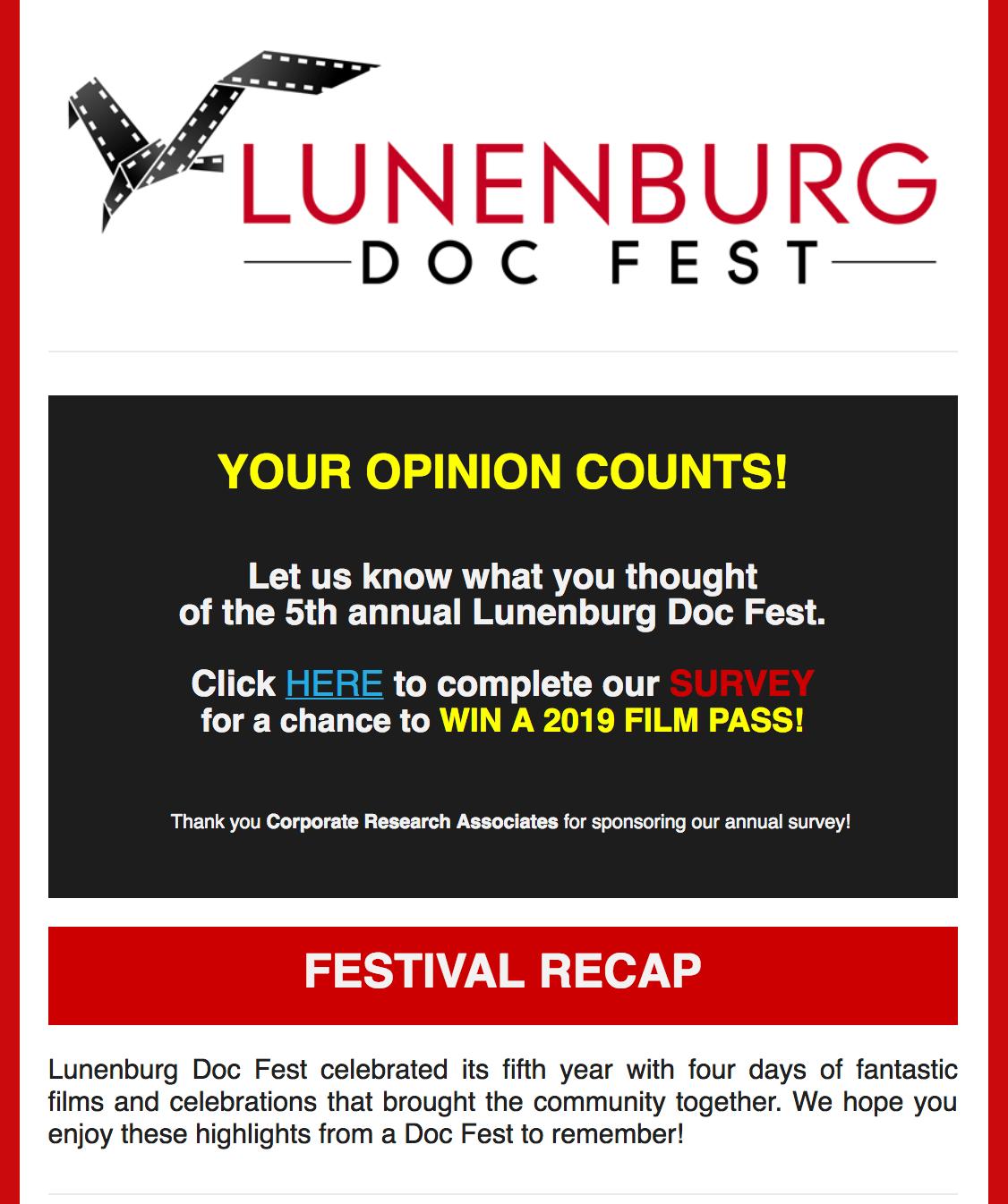 Lunenburg Doc Fest | NEWSLETTER: 2018 Festival Recap